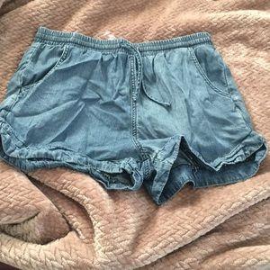 Denim style stretchy shorts